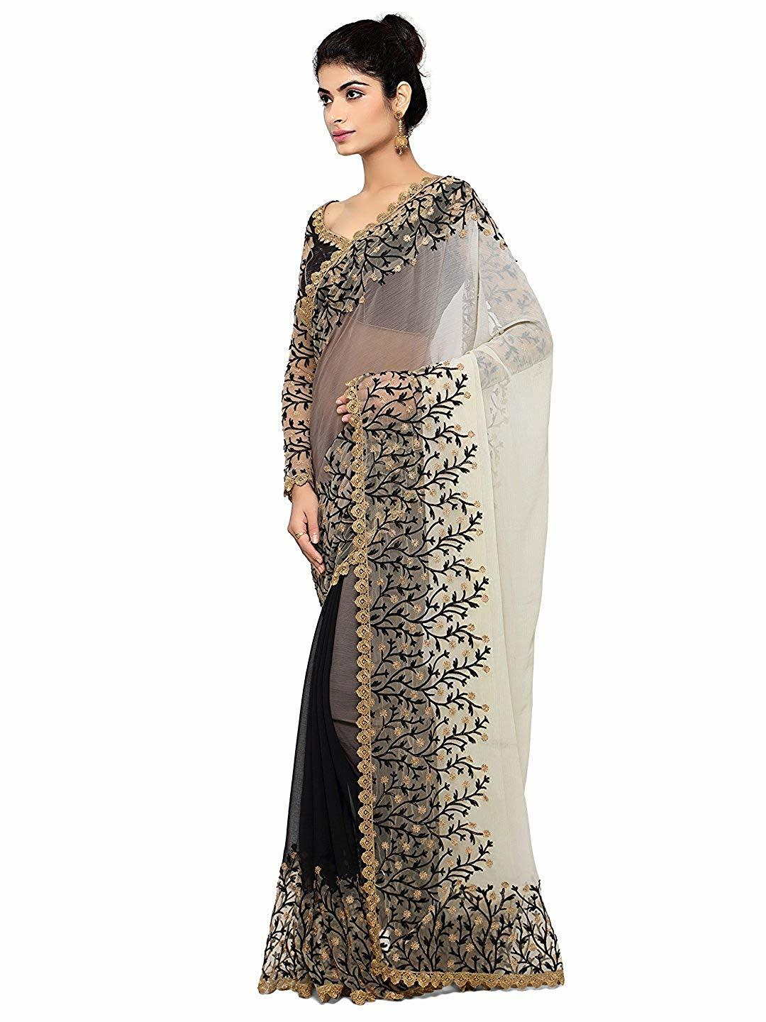 floral heavy embroidered Georgette and net saree in black