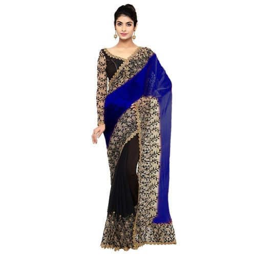 floral heavy embroidered Georgette and net saree in Blue and black