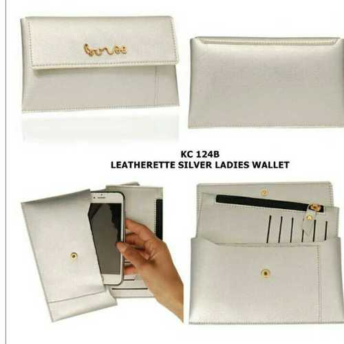 Ladies leather silver wallet