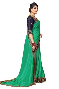 Satin Saree With Embroidered Work
