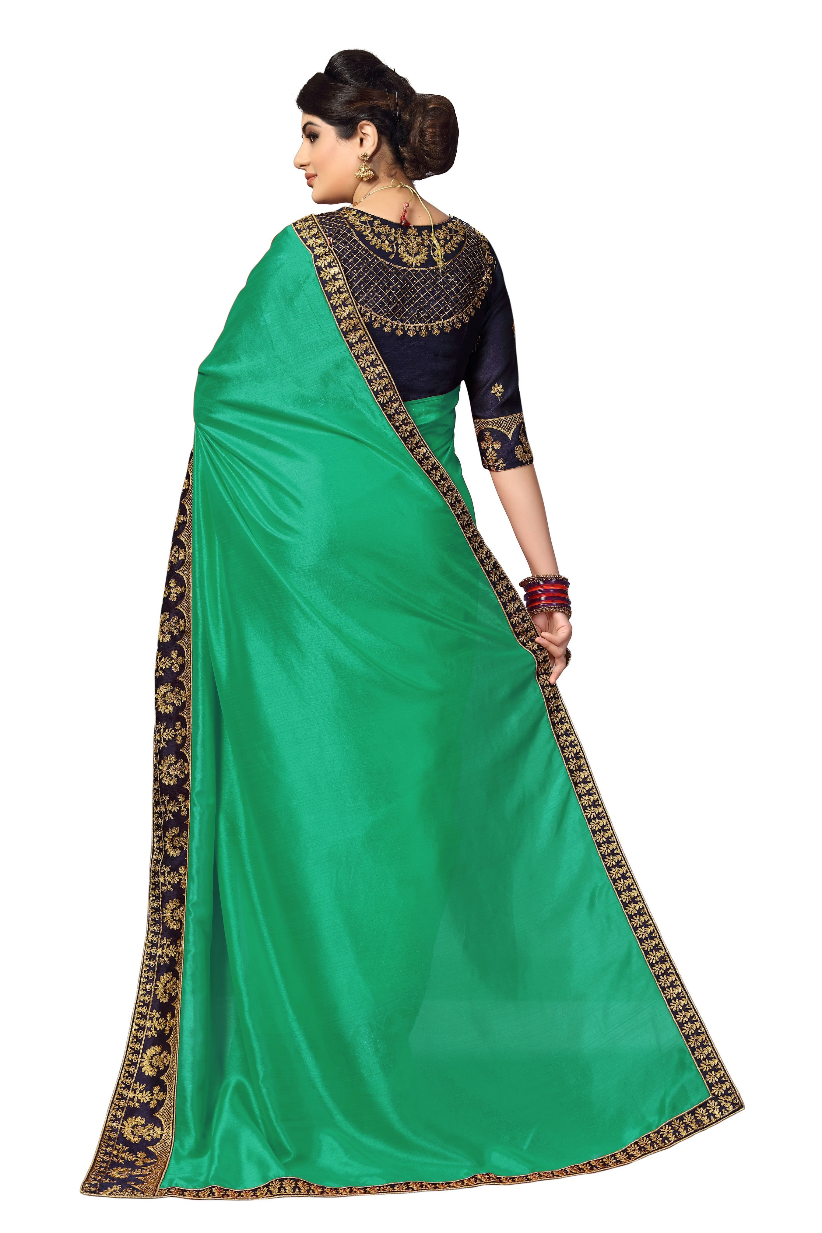 embroidered lace border satin saree in Green