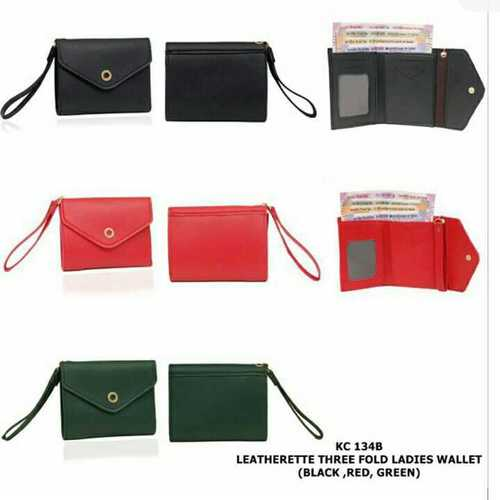 Three fold ladies leather wallet