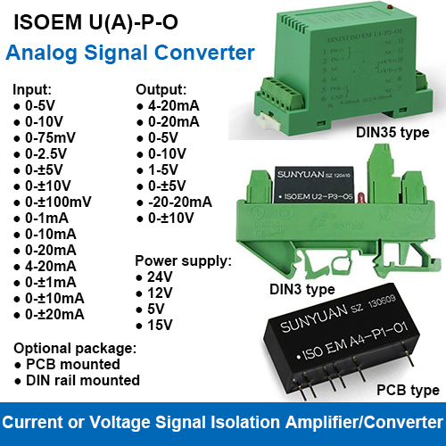 ISOEM U(A)-P-O Series Universal Input Current/Voltage Output Isolated Signal Converters