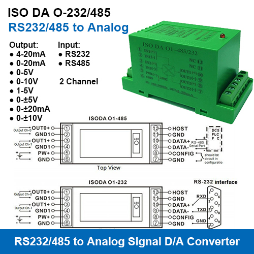 Iso Da O-232/485 Series Rs232/485 To Analog Signal D/a Converters
