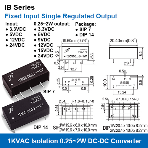 IB Series 1KVAC Isolation Fixed Input Single Regulated Output DC DC Converters