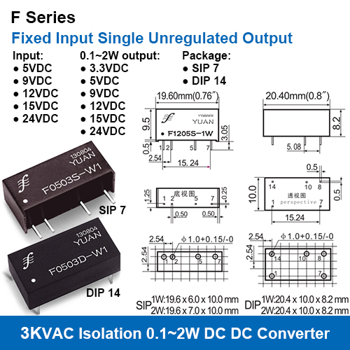 F Series 3KV Isolation Fixed Input Single Unregulated Output DC DC Converters