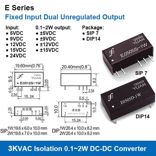 3KV Isolation Fixed Input Dual Unregulated Output DC DC Converters