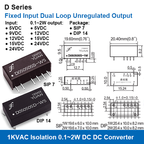 D Series 1KVAC Isolation Fixed Input Dual Loop Unregulated Output Power Modules
