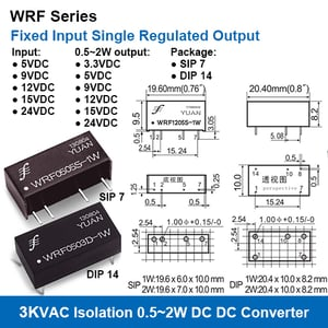 Wrf Series 3kvac Isolation Fixed Input Single Regulated Output Dc-dc Converters