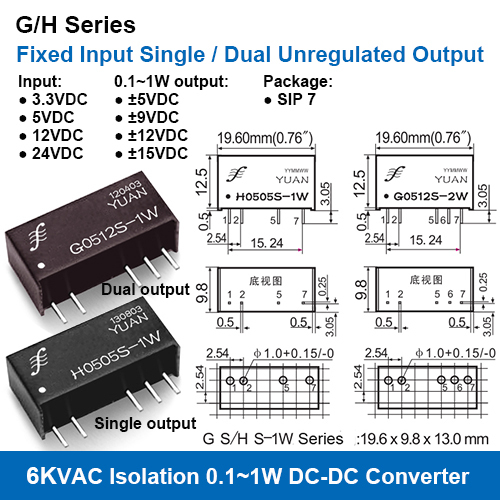 G/H Series 6KVAC Isolation Fixed Input Single/Dual Unregulated Output DC DC Converters