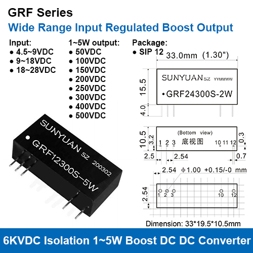 GRF Series 6KVDC High Isolation Wide Range Input High Voltage Regulated Output DC DC Converters
