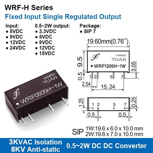 Wrf-h Series 3kvac Isolation Fixed Input Single Regulated Output Dc-dc Converters With 8kv Anti-static Protection
