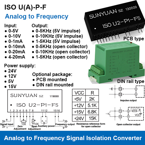 Analog Signal to Frequency Signal Isolation Converters