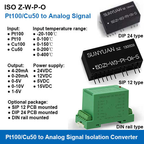 Pt100 Cu50 RTD Temperature Signal to Analog Signal Isolation Converters