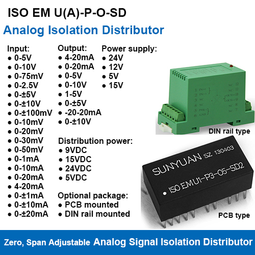 ISOEM U(A)-P-O-SD Span Zero And Gain Adjustable Analog Signal Isolation Distributors