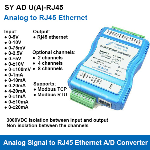 SY AD U(A)-RJ45 Series Multi-Channels Analog Signal to RJ45 Ethernet A/D Converters