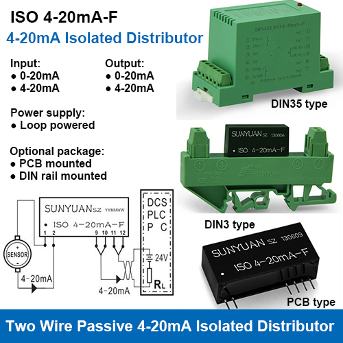 ISOS 4-20mA-F Loop Powered 4-20mA Power Distributor and Isolator for Two Wire Sensors