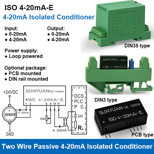 ISO 4-20mA-E Loop Powered 4-20mA Isolated Signal Conditioner