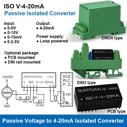 ISO V-4-20mA Loop Powered Voltage to 4-20mA Signal Converters