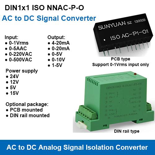 DIN1x1 ISO NNAC-P-O AC Signal to DC Standard Signal Converters
