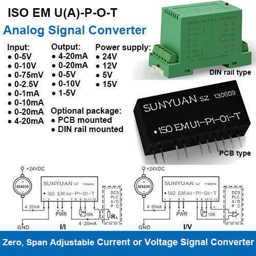 ISOEM U(A)-P-O-T Span Zero And Gain Adjustable Current or Voltage Signal Converters