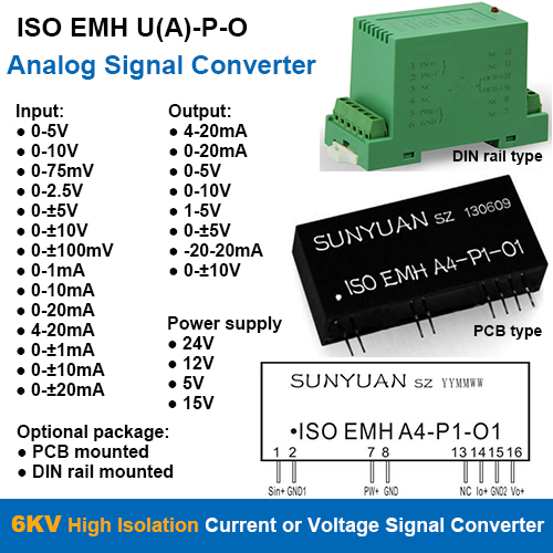 6KVDC Isolation Current or Voltage Signal Converters