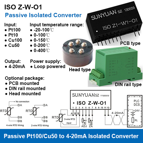 ISO Z-W-O1 PT100 to 4-20mA Isolated Temperature Signal Converters