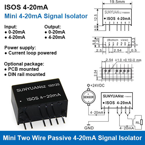 ISOS 4-20mA Ultra-small Size Loop Powered 4-20mA Signal Isolators
