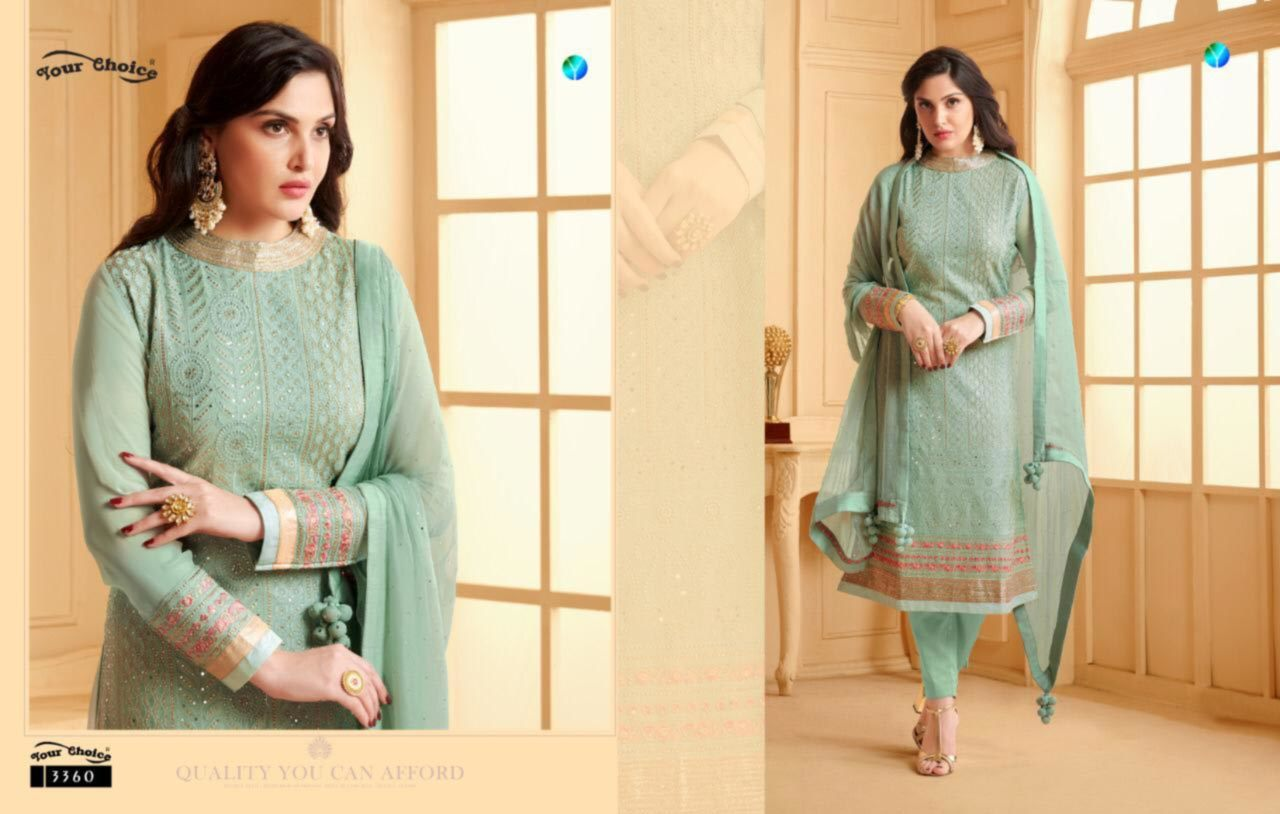 Real Georgette  Bottom Inner Bottom Dull Santoon Dupatta Najin with 2 side Emb Less & Tusle