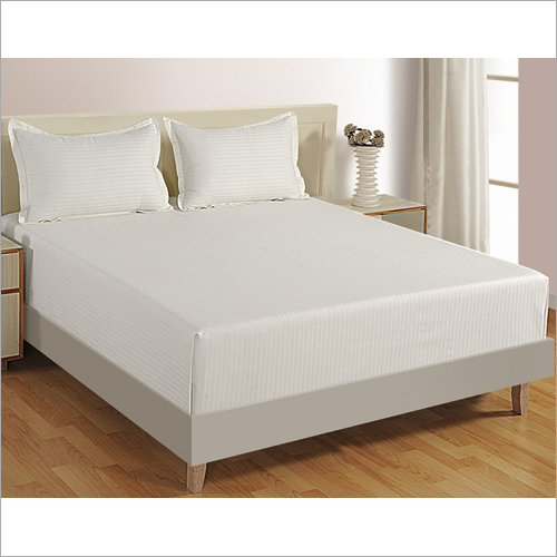 White Satin Stripes Bed Sheet
