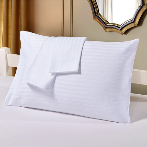 Hotel White Satin Stripes Pillow Cover