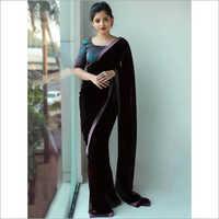 Party Wear Plain Satin Saree
