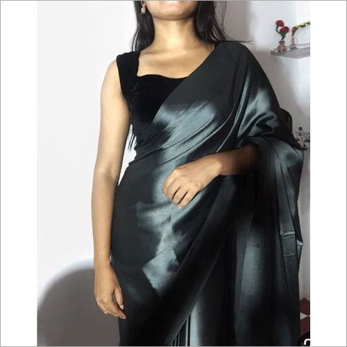 Fancy Plain Satin Saree