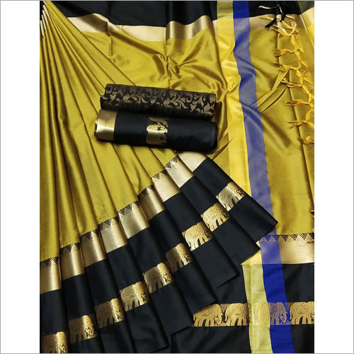 Black Border Butter Silk Saree