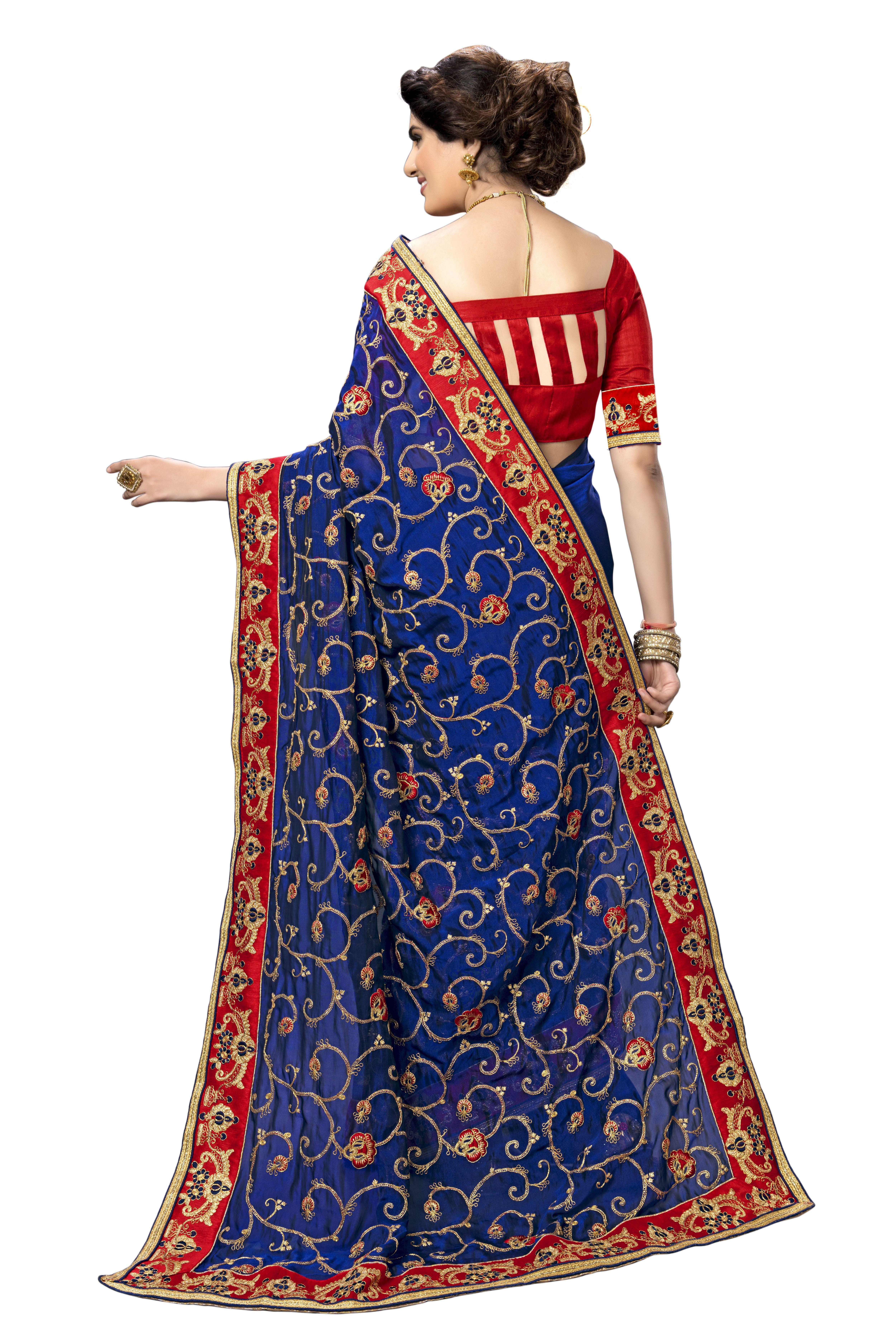 kalamakari design embroidered satin saree