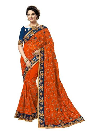 kalamakari design embroidered satin saree