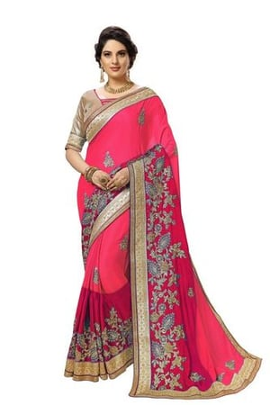 Ombre Pattern Embroidered Satin saree