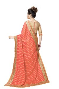 Fancy Embroidered Jacquard Silk Saree