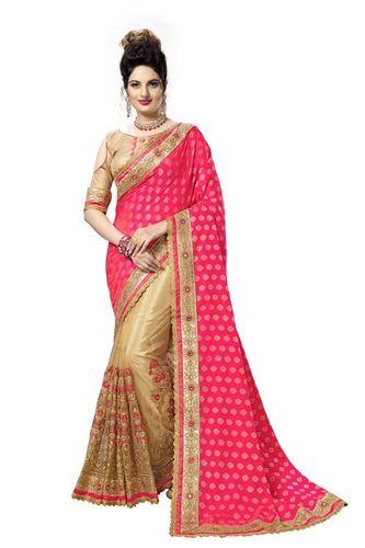 Fancy Embroidered Jacquard Silk Saree