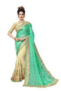 Georgette Saree With Brocade Blouse