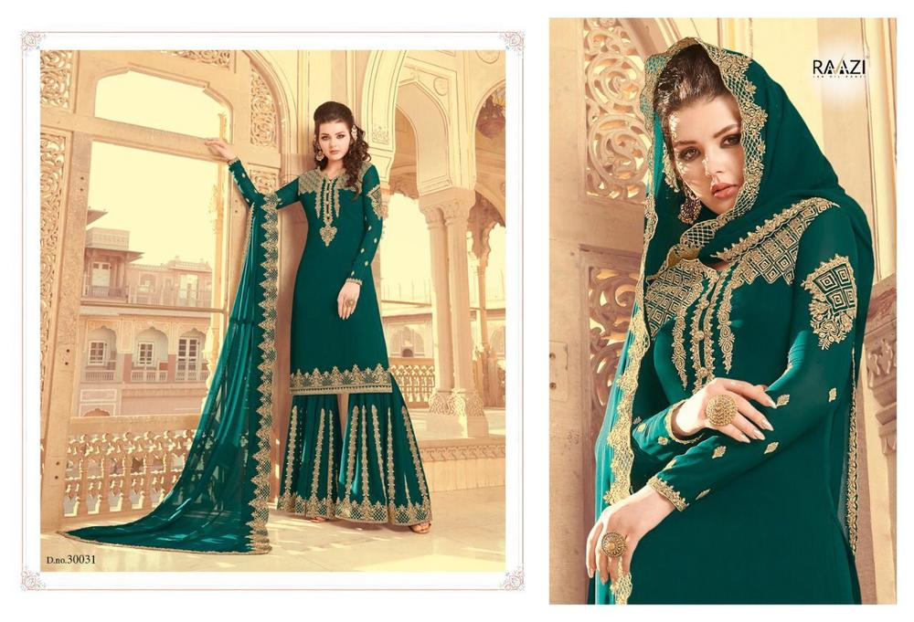 Faux Georgette Embroidery Palazzo Suit