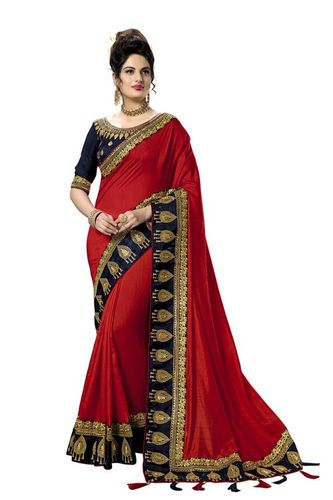 kalamkari embroidery bordered design satin Saree