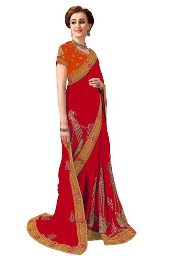 Silk Stone Work Saree