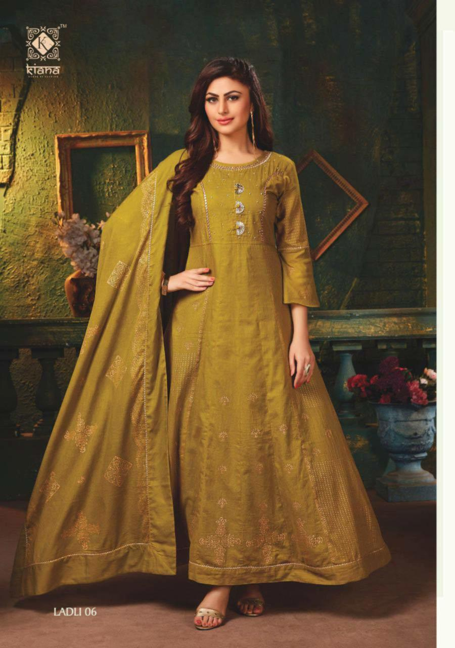 Cotton Mull Floor Length Long Kurti ( With Handwork / Peetawork and Gold Foil Print) With Dupatta Gold Print