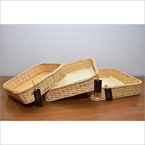 Set Of 3 Handmade Cane Basket