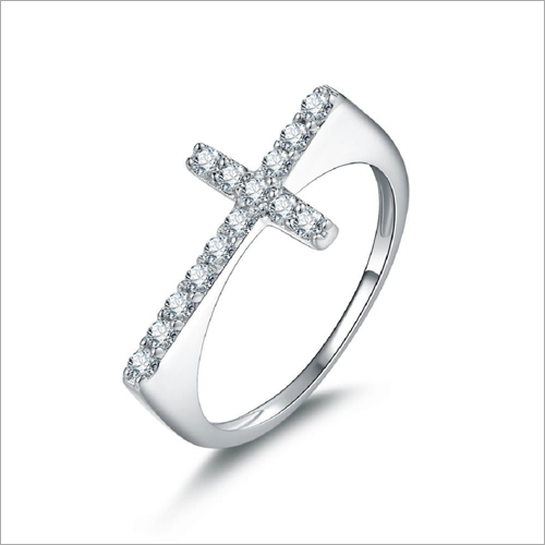 Cross Shape Silver Men Ring