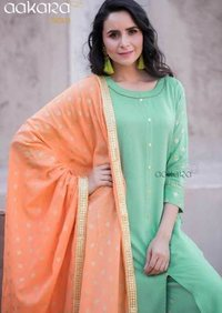 Rayon Cotton Kurti with Pant/Palazzo/Skirt and Dupatta Set