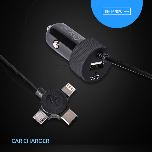 3.1 Amp Fast Car Charger with Single USB Port And In-Built 3 Connector Cable