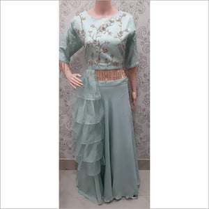Ladies Crop Top with Side Frill Dress