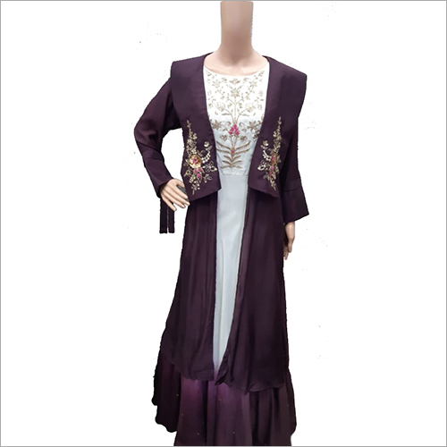 Ladies Floor Length Dress With Long Jacket
